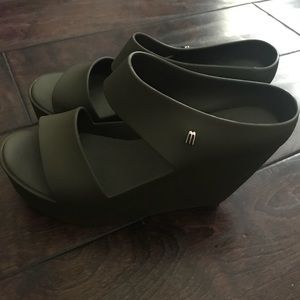 Melissa Army Green Wedges